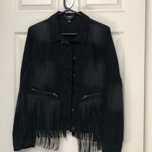 Nine west jeans black faded denim jacket